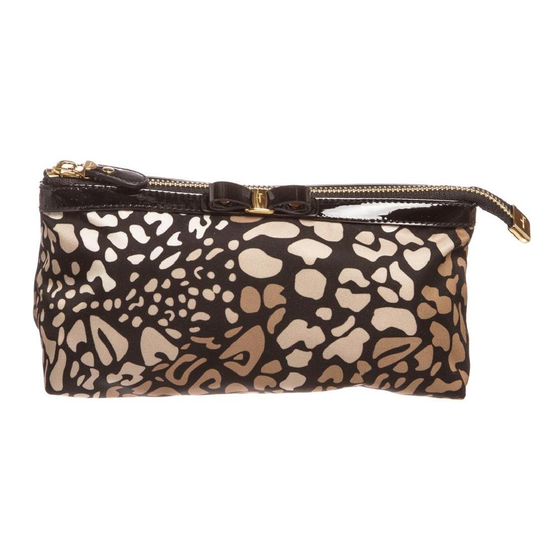 Salvatore Ferragamo Animal Print Nylon Patent Leather