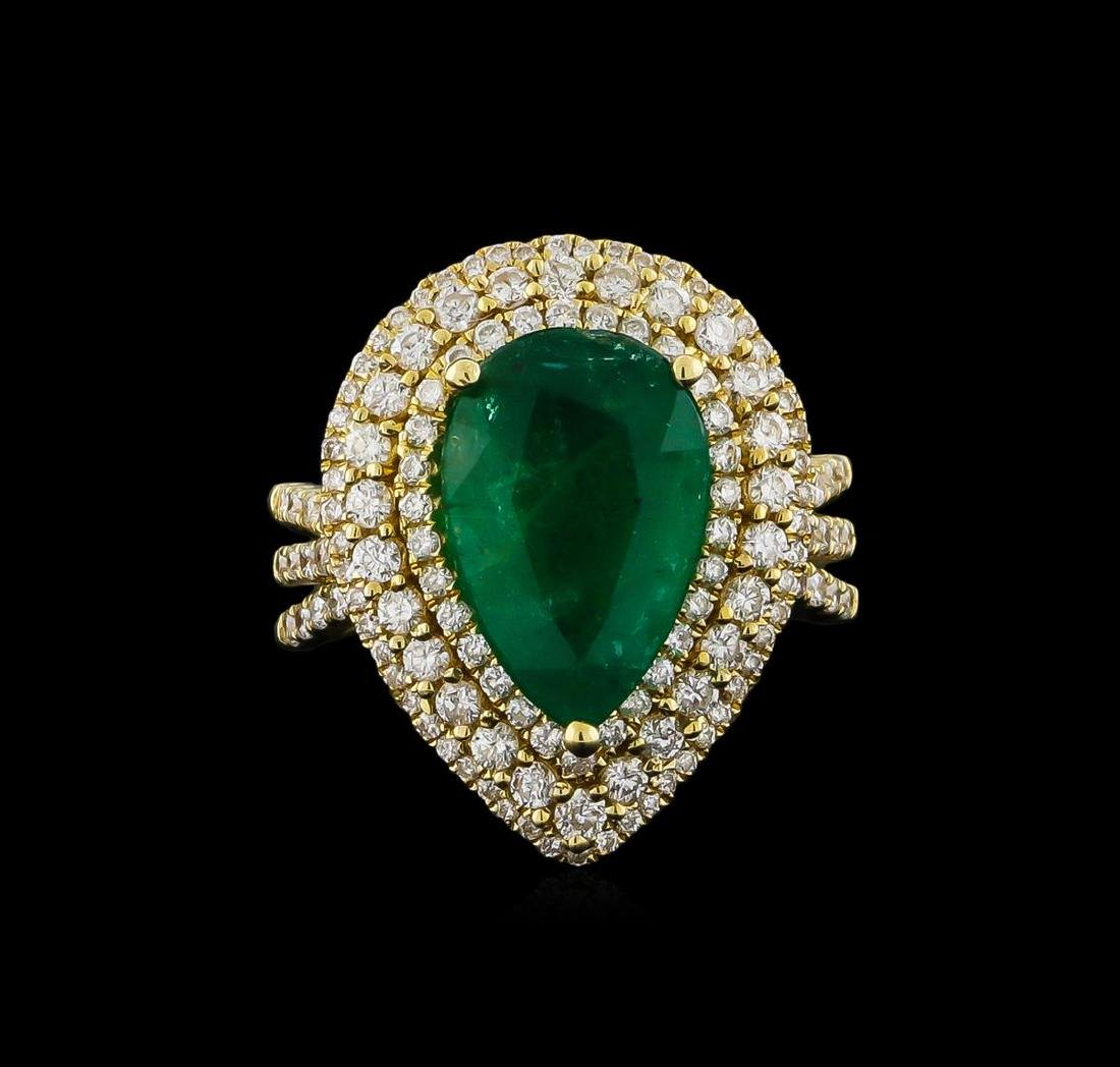 14KT Yellow Gold 4.10 ctw Emerald and Diamond Ring - 2