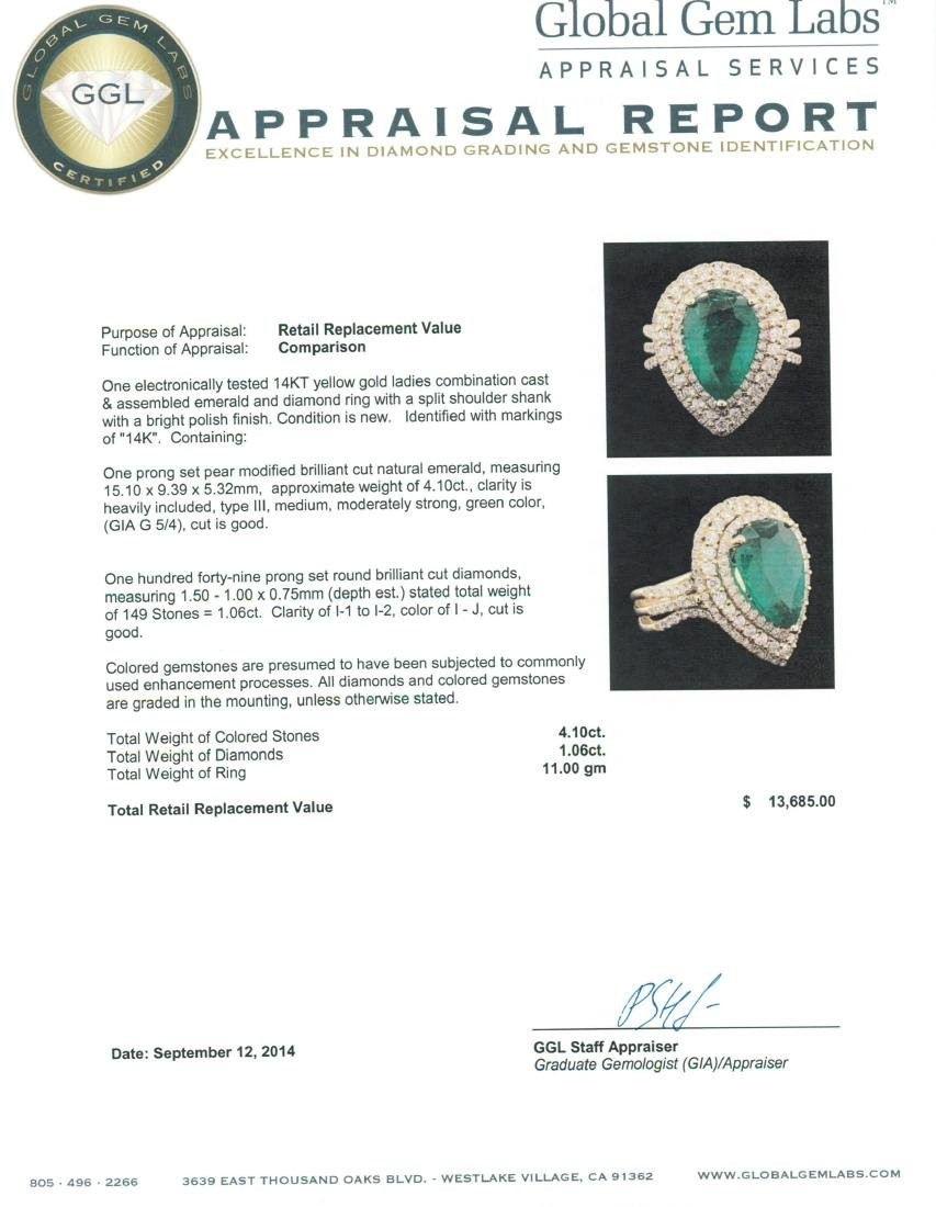 14KT Yellow Gold 4.10 ctw Emerald and Diamond Ring - 5