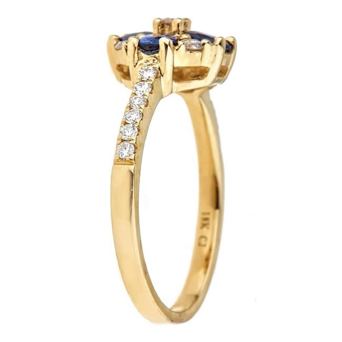 0.83 ctw Sapphire and Diamond Ring - 18KT Yellow Gold - 2
