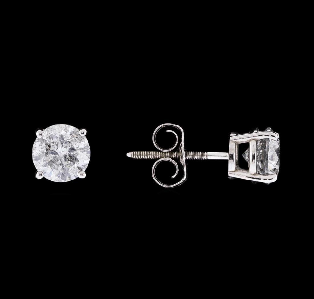 1.21 ctw Diamond Earrings - 14KT White Gold - 2