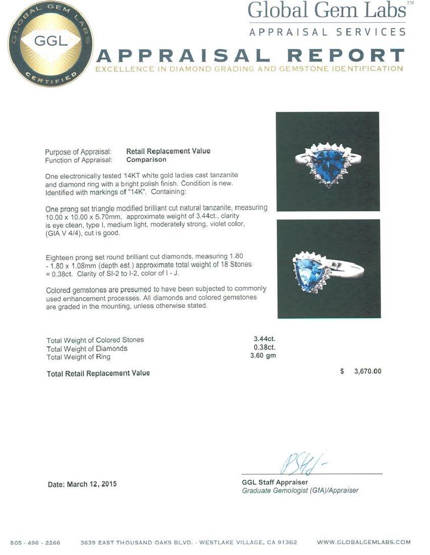 14KT White Gold 3.44 ctw Tanzanite and Diamond Ring - 5