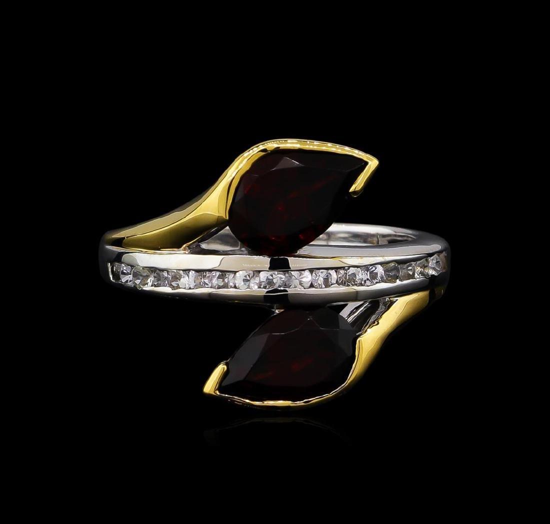 Crayola 2.60 ctw Garnet and White Sapphire Ring - .925 - 2