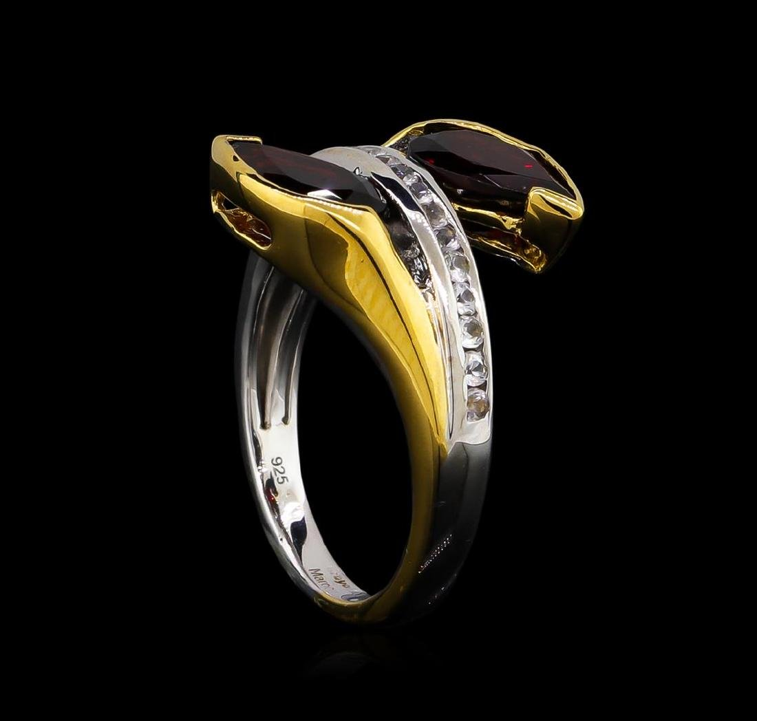 Crayola 2.60 ctw Garnet and White Sapphire Ring - .925 - 4