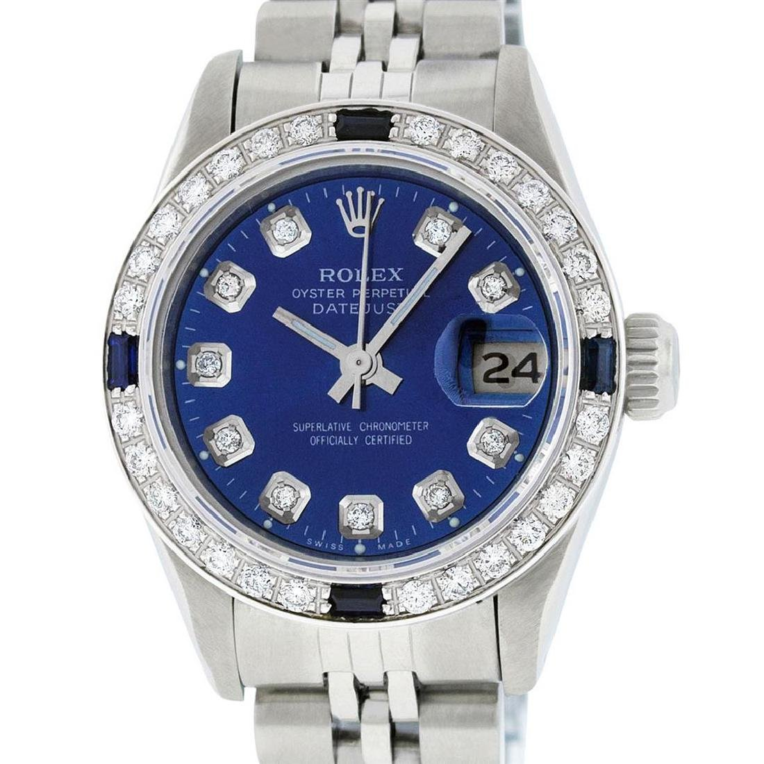 Rolex Ladies Stainless Steel Blue Diamond & Sapphire
