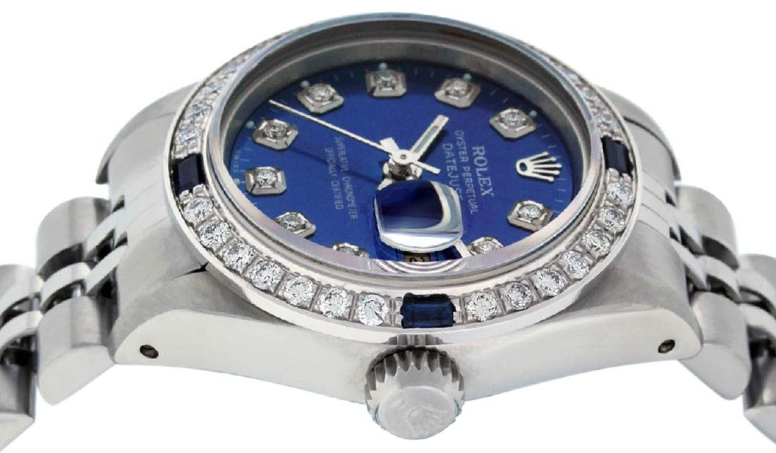 Rolex Ladies Stainless Steel Blue Diamond & Sapphire - 2