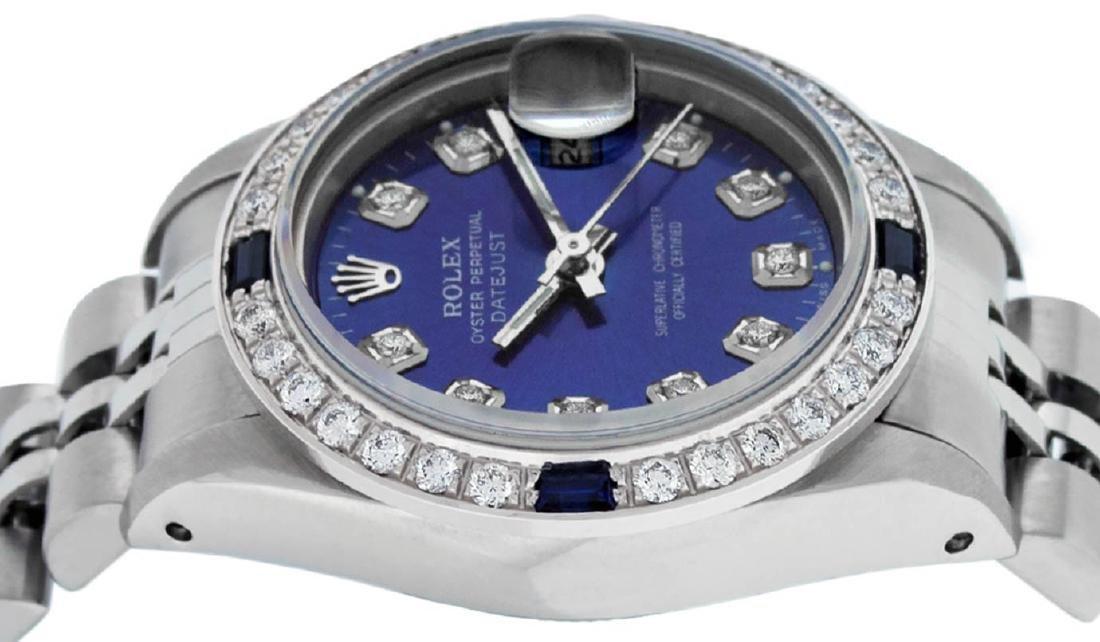 Rolex Ladies Stainless Steel Blue Diamond & Sapphire - 3