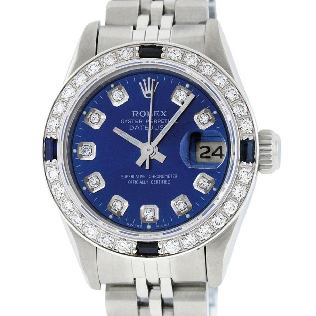 Rolex Ladies Stainless Steel Blue Diamond & Sapphire - 7