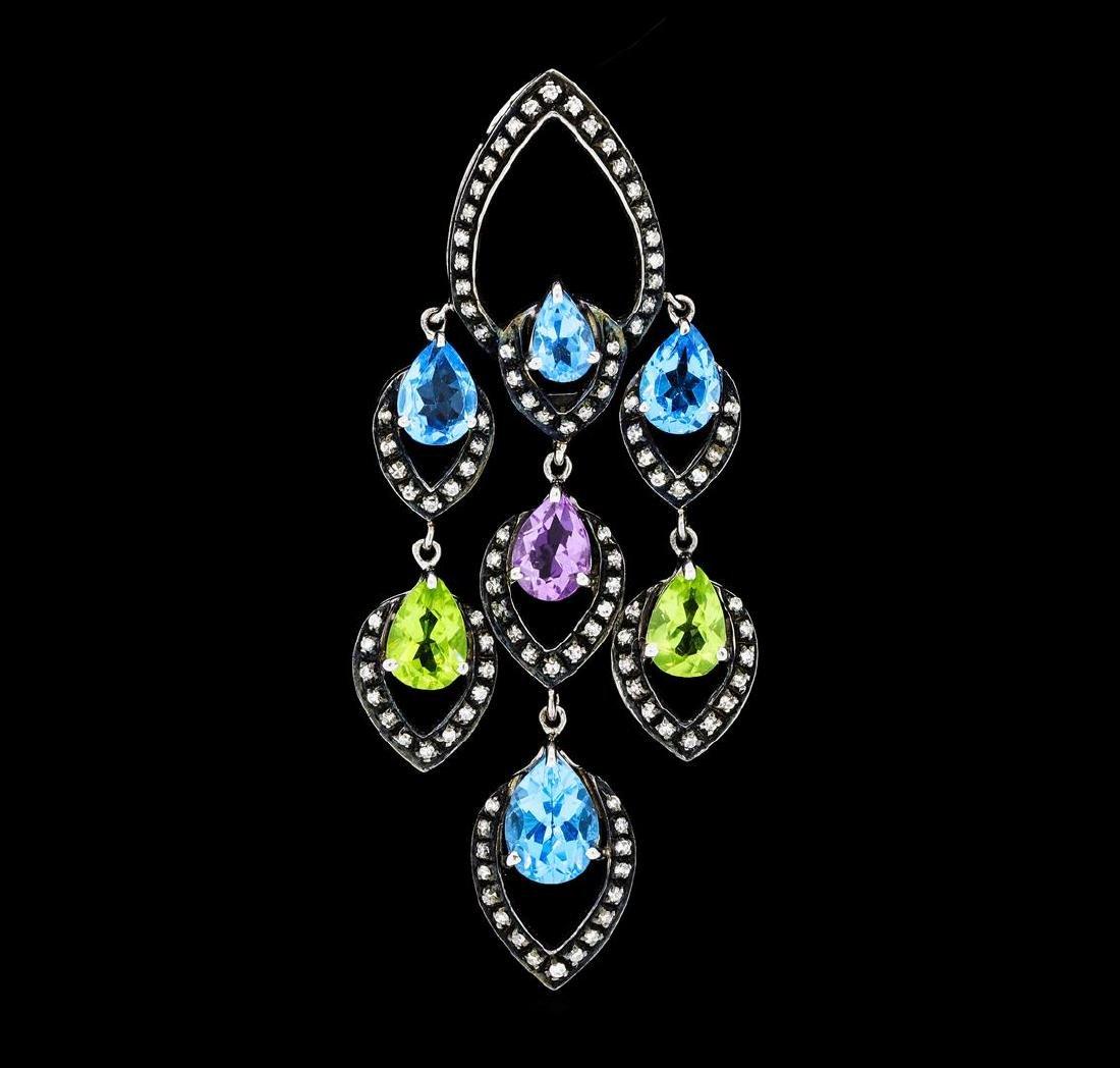 4.00 ctw Multi-Color Gemstone and Diamond Pendant -
