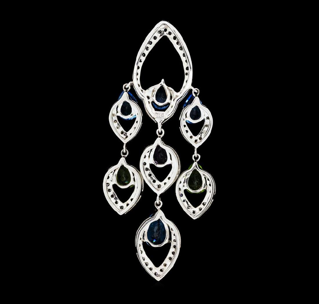 4.00 ctw Multi-Color Gemstone and Diamond Pendant - - 2