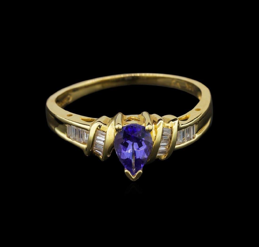 14KT Yellow Gold 0.62 ctw Tanzanite and Diamond Ring - 2