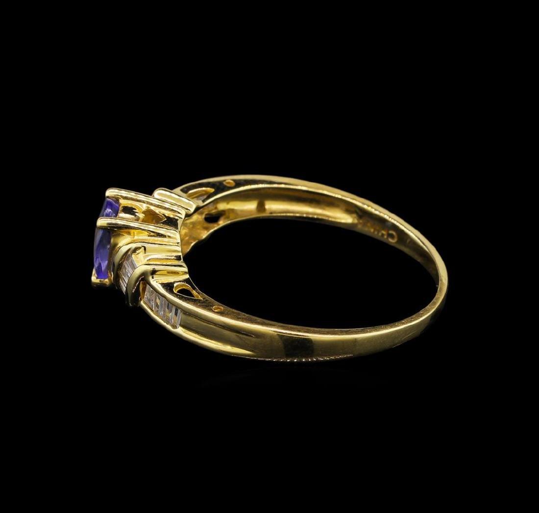 14KT Yellow Gold 0.62 ctw Tanzanite and Diamond Ring - 3