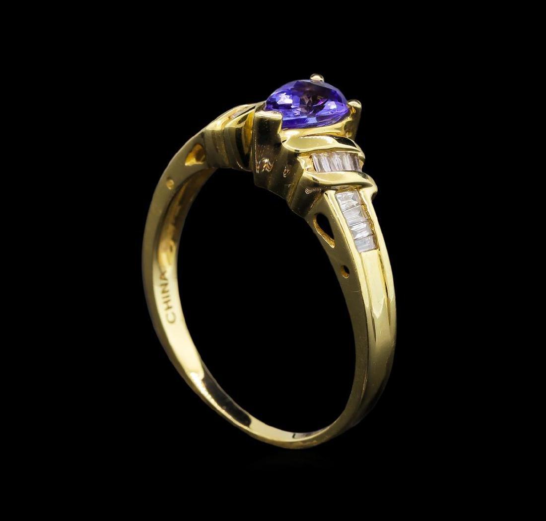 14KT Yellow Gold 0.62 ctw Tanzanite and Diamond Ring - 4