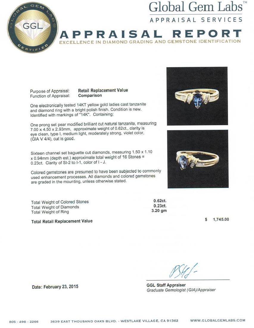 14KT Yellow Gold 0.62 ctw Tanzanite and Diamond Ring - 5