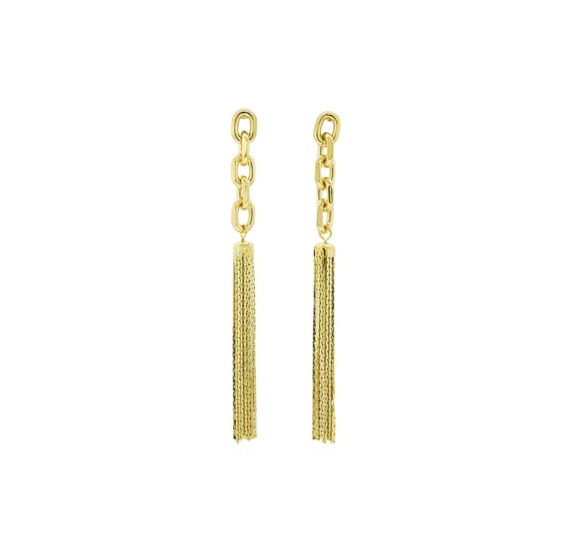 Link and Chain Tassel Post Earrings - Gold Plated