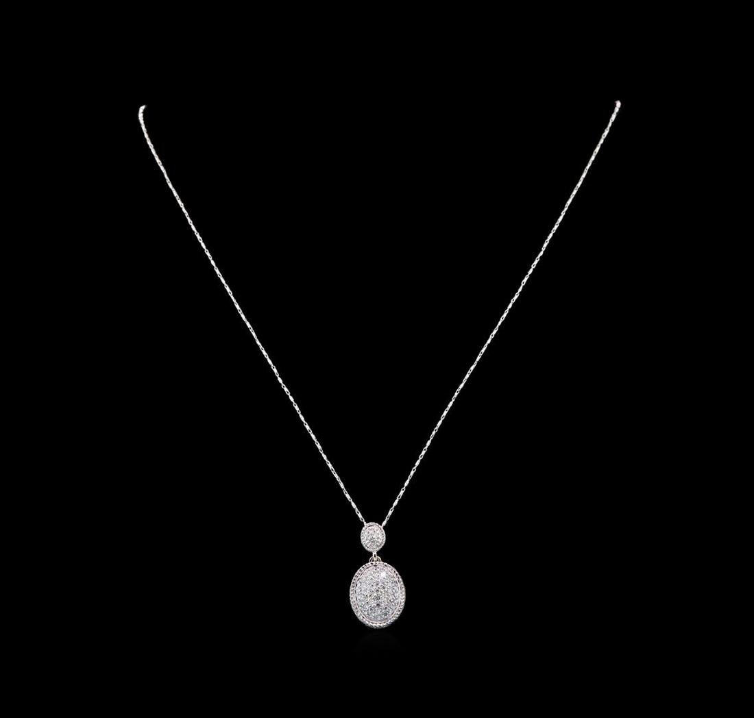 14KT White Gold 0.75 ctw Diamond Pendant With Chain - 2