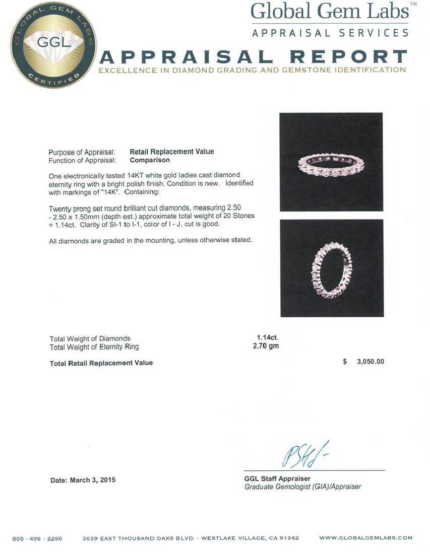 14KT White Gold 1.14 ctw Diamond Ring - 3