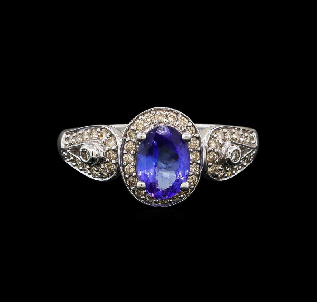 14KT White Gold 1.04 ctw Tanzanite and Diamond Ring - 2