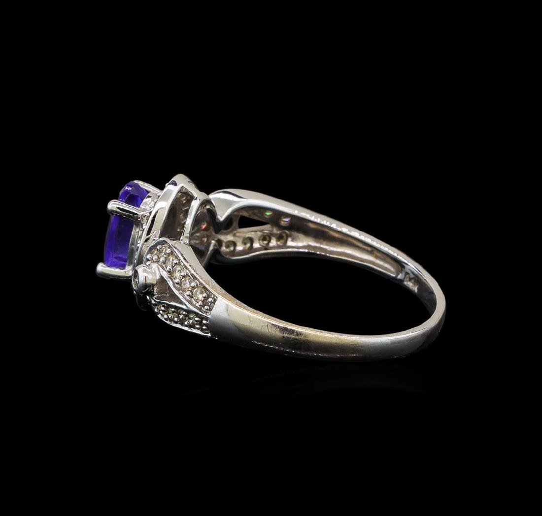 14KT White Gold 1.04 ctw Tanzanite and Diamond Ring - 3