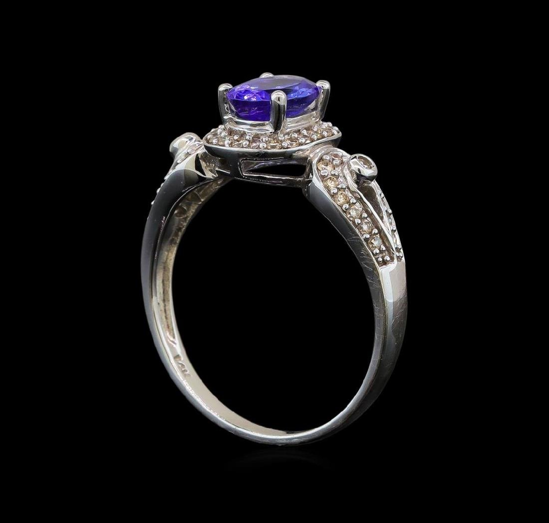 14KT White Gold 1.04 ctw Tanzanite and Diamond Ring - 4
