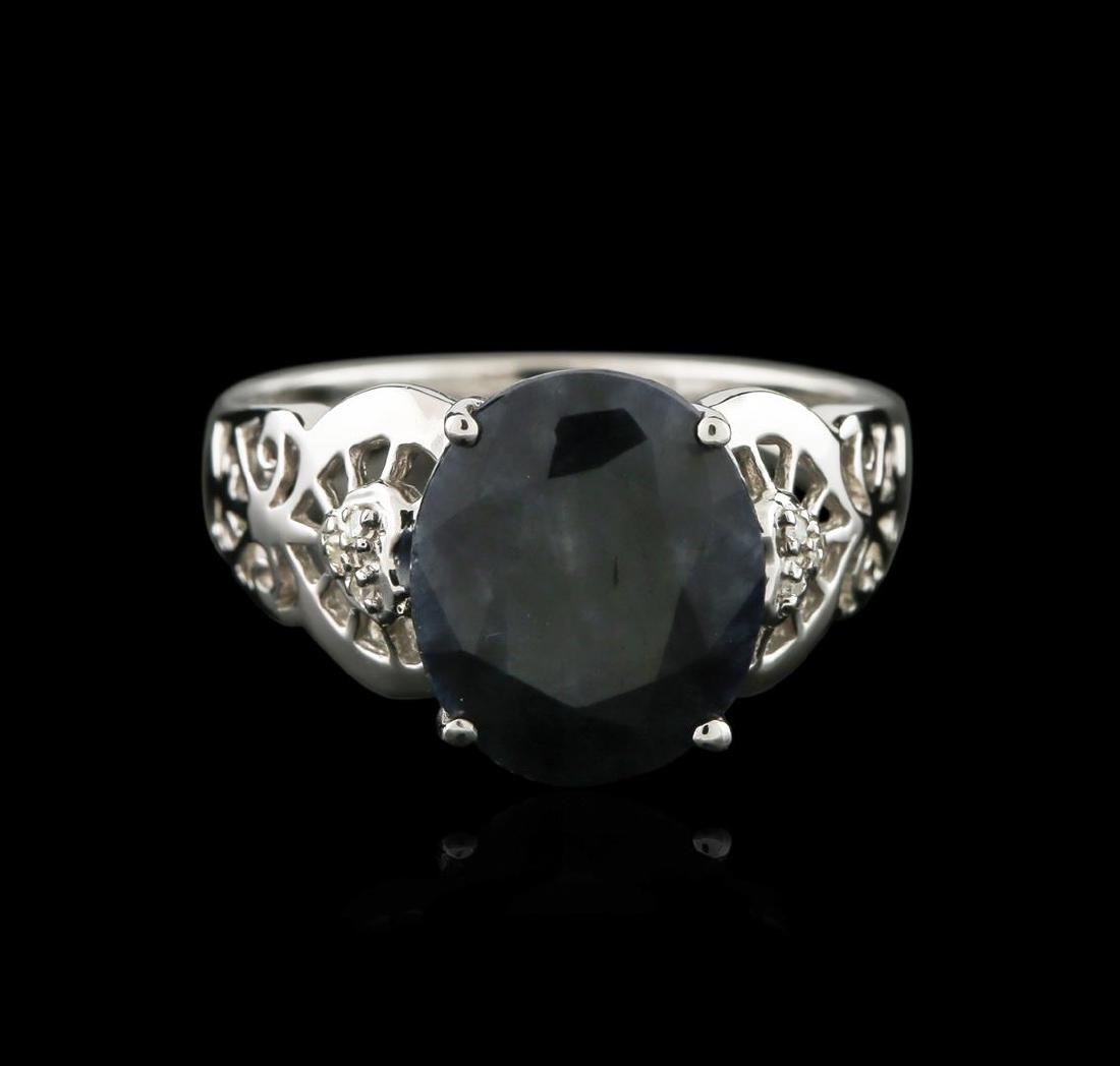 14KT White Gold 5.77 ctw Sapphire and Diamond Ring - 2