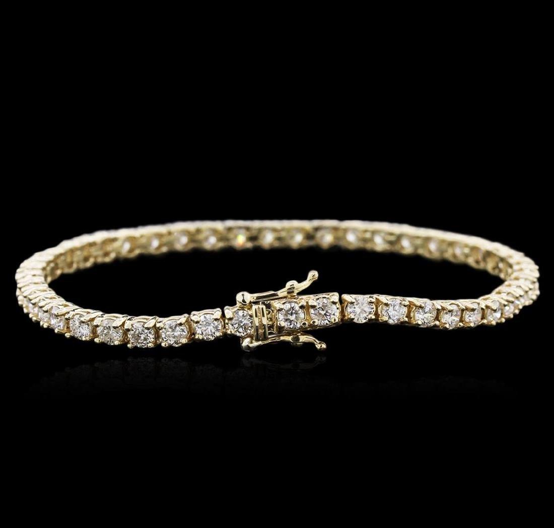 14KT Yellow Gold 4.60 ctw Diamond Tennis Bracelet - 2