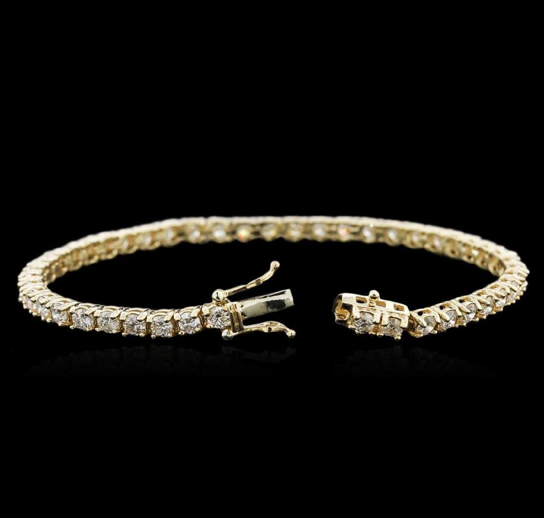 14KT Yellow Gold 4.60 ctw Diamond Tennis Bracelet - 3