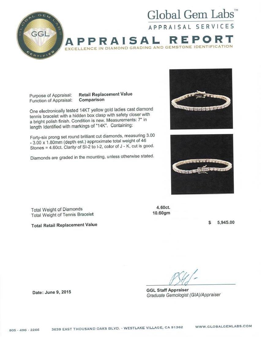 14KT Yellow Gold 4.60 ctw Diamond Tennis Bracelet - 4