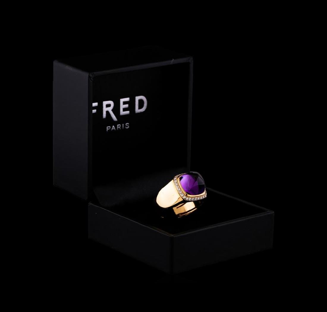 Fred of Paris Pain De Sucre Amethyst and Diamond Ring -
