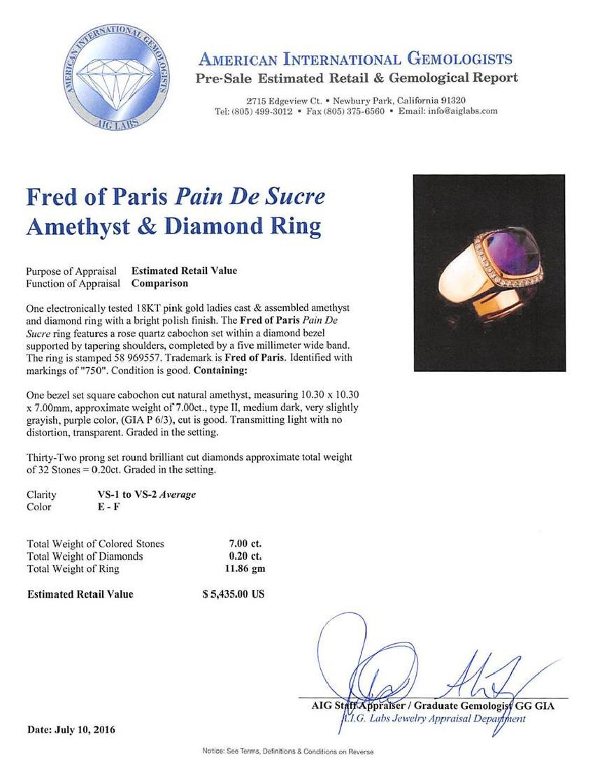Fred of Paris Pain De Sucre Amethyst and Diamond Ring - - 5