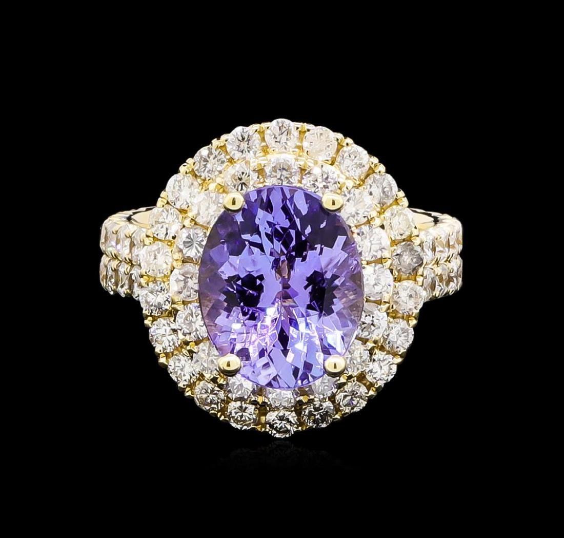 4.15 ctw Tanzanite and Diamond Ring - 14KT Yellow Gold - 2