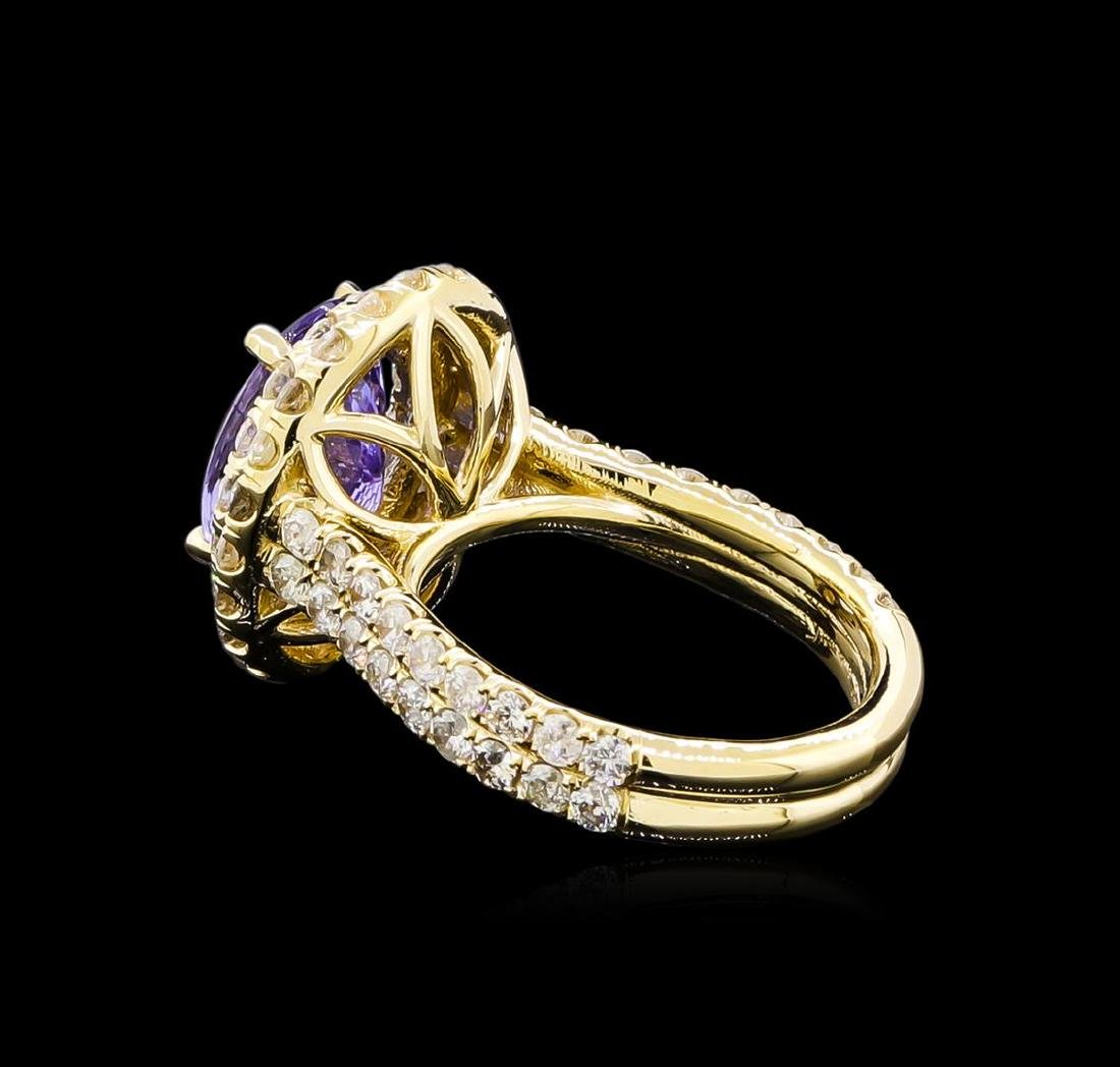 4.15 ctw Tanzanite and Diamond Ring - 14KT Yellow Gold - 3