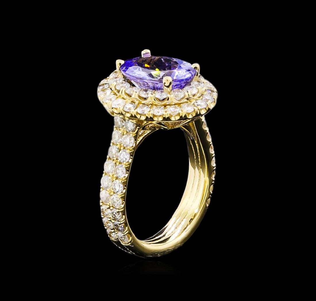 4.15 ctw Tanzanite and Diamond Ring - 14KT Yellow Gold - 4