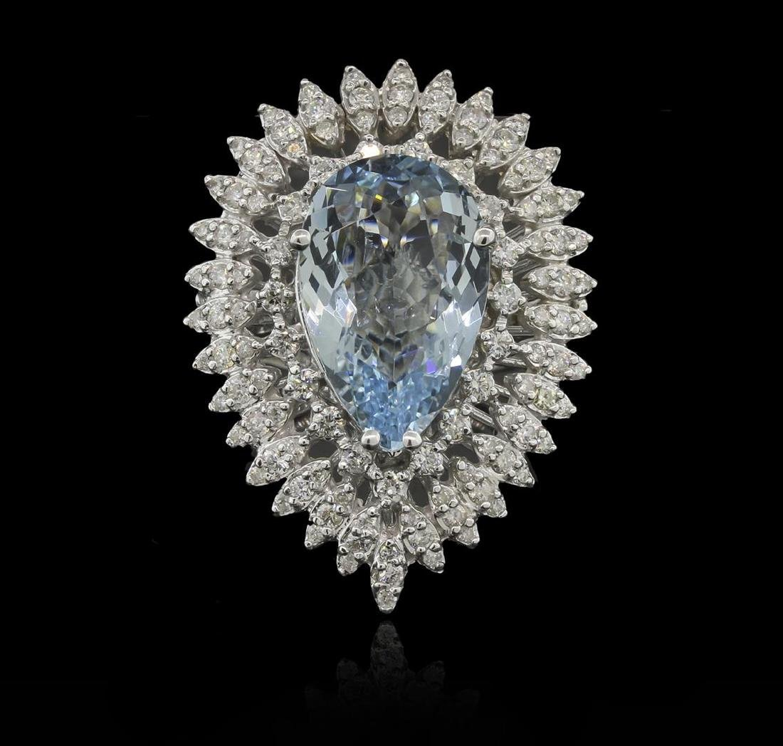 6.06 ctw Aquamarine and Diamond Ring - 14KT White Gold - 2