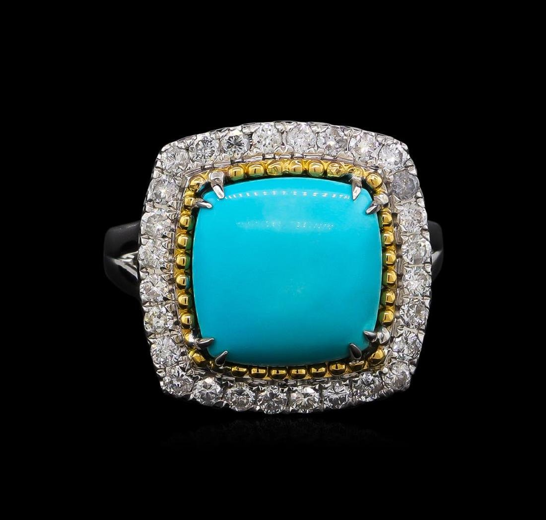 14KT White Gold 4.02 ctw Turquoise and Diamond Ring - 2