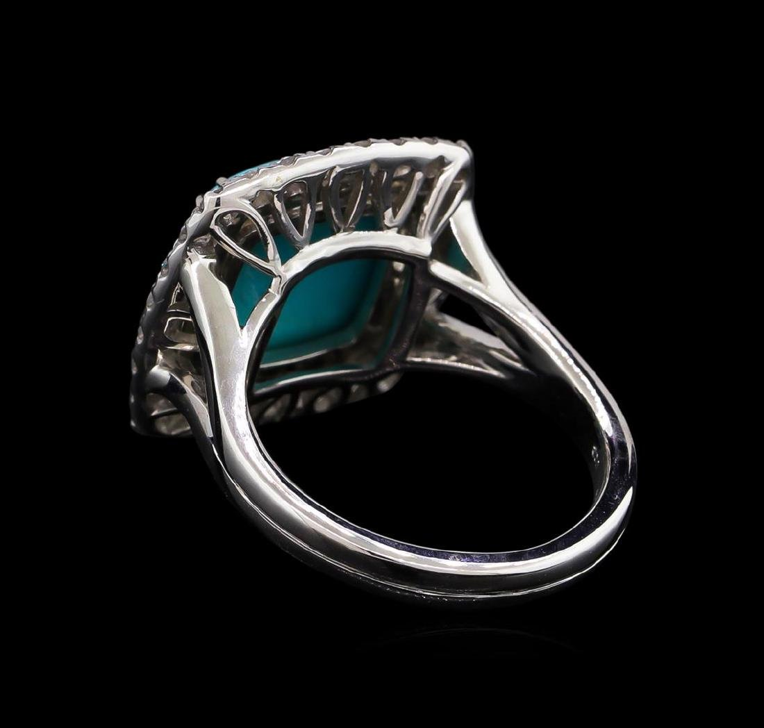14KT White Gold 4.02 ctw Turquoise and Diamond Ring - 3