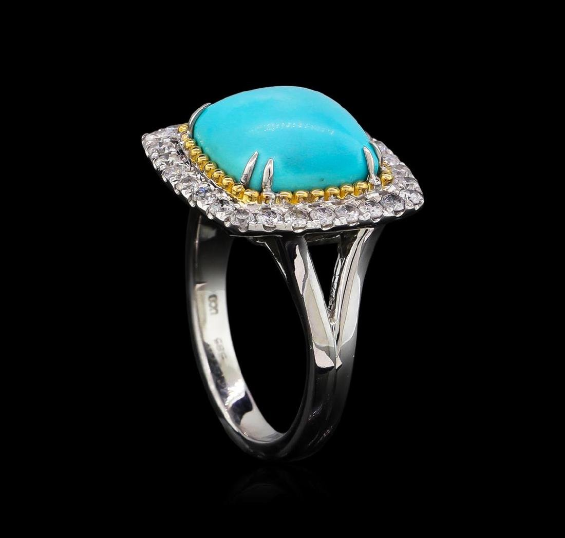 14KT White Gold 4.02 ctw Turquoise and Diamond Ring - 4