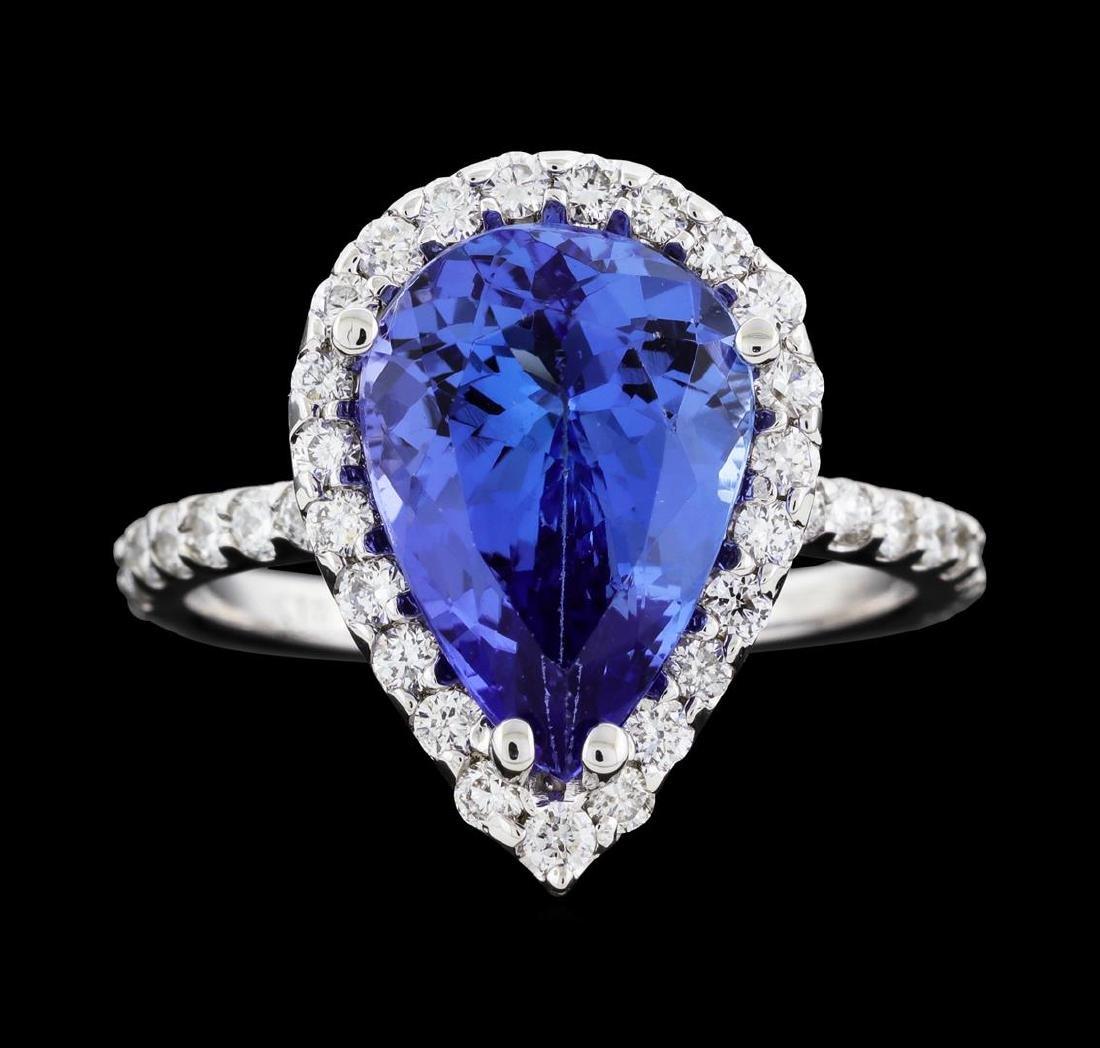 4.07 ctw Tanzanite and Diamond Ring - 14KT White Gold - 2