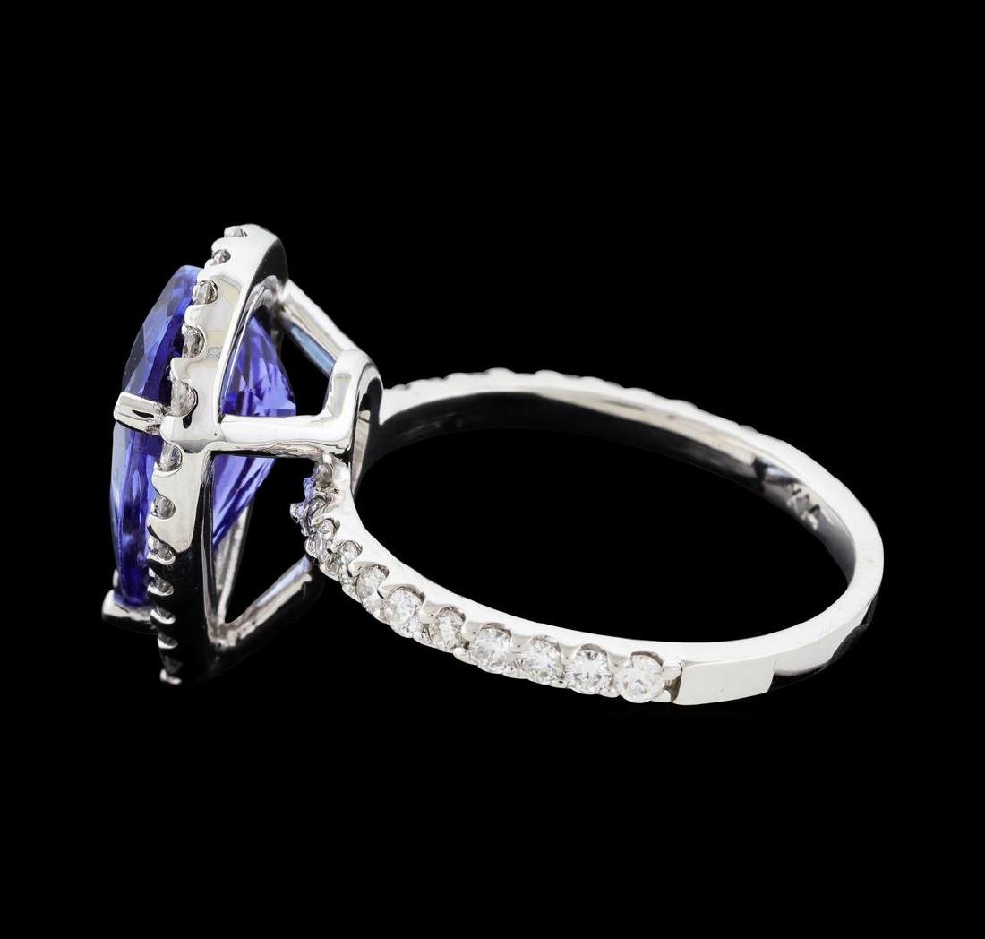 4.07 ctw Tanzanite and Diamond Ring - 14KT White Gold - 3