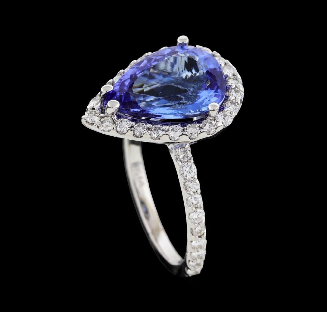 4.07 ctw Tanzanite and Diamond Ring - 14KT White Gold - 4