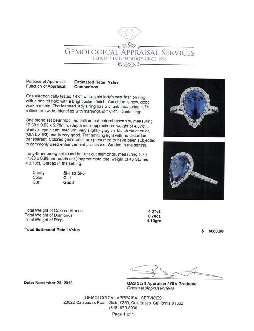 4.07 ctw Tanzanite and Diamond Ring - 14KT White Gold - 5