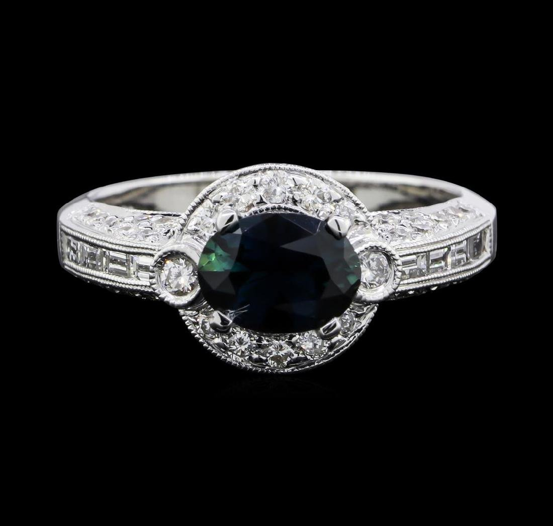 1.51 ctw Sapphire and Diamond Ring - 18KT White Gold - 2