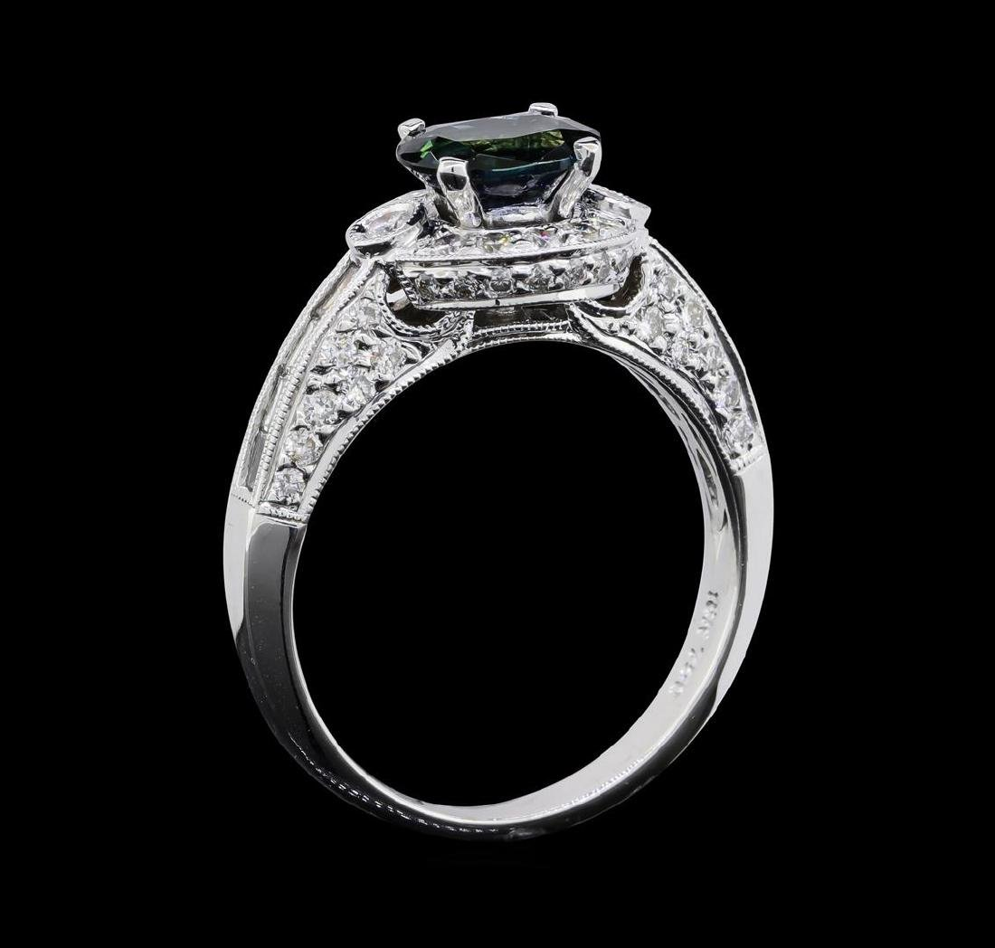 1.51 ctw Sapphire and Diamond Ring - 18KT White Gold - 4
