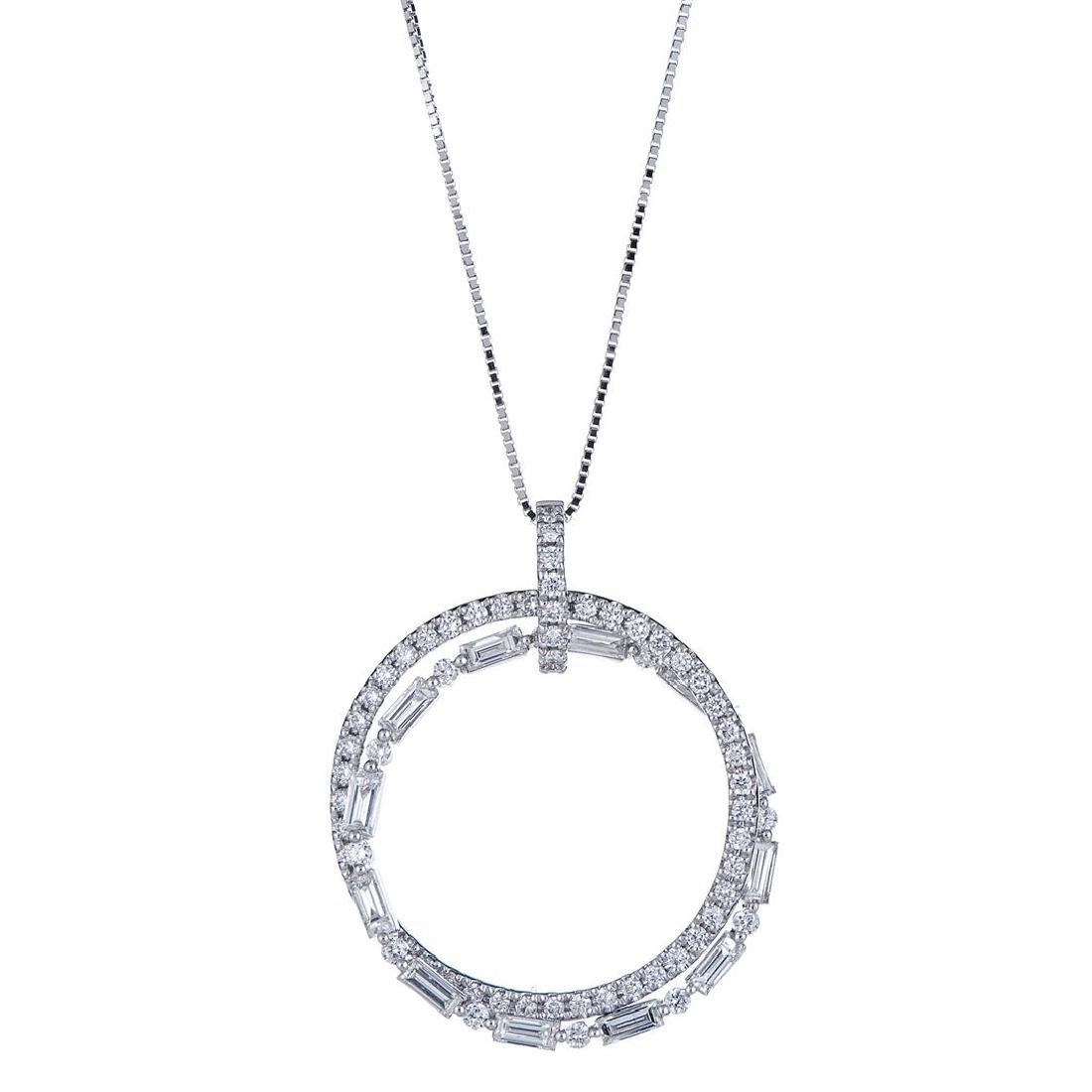 0.77 ctw Diamond Pendant - 18KT White Gold