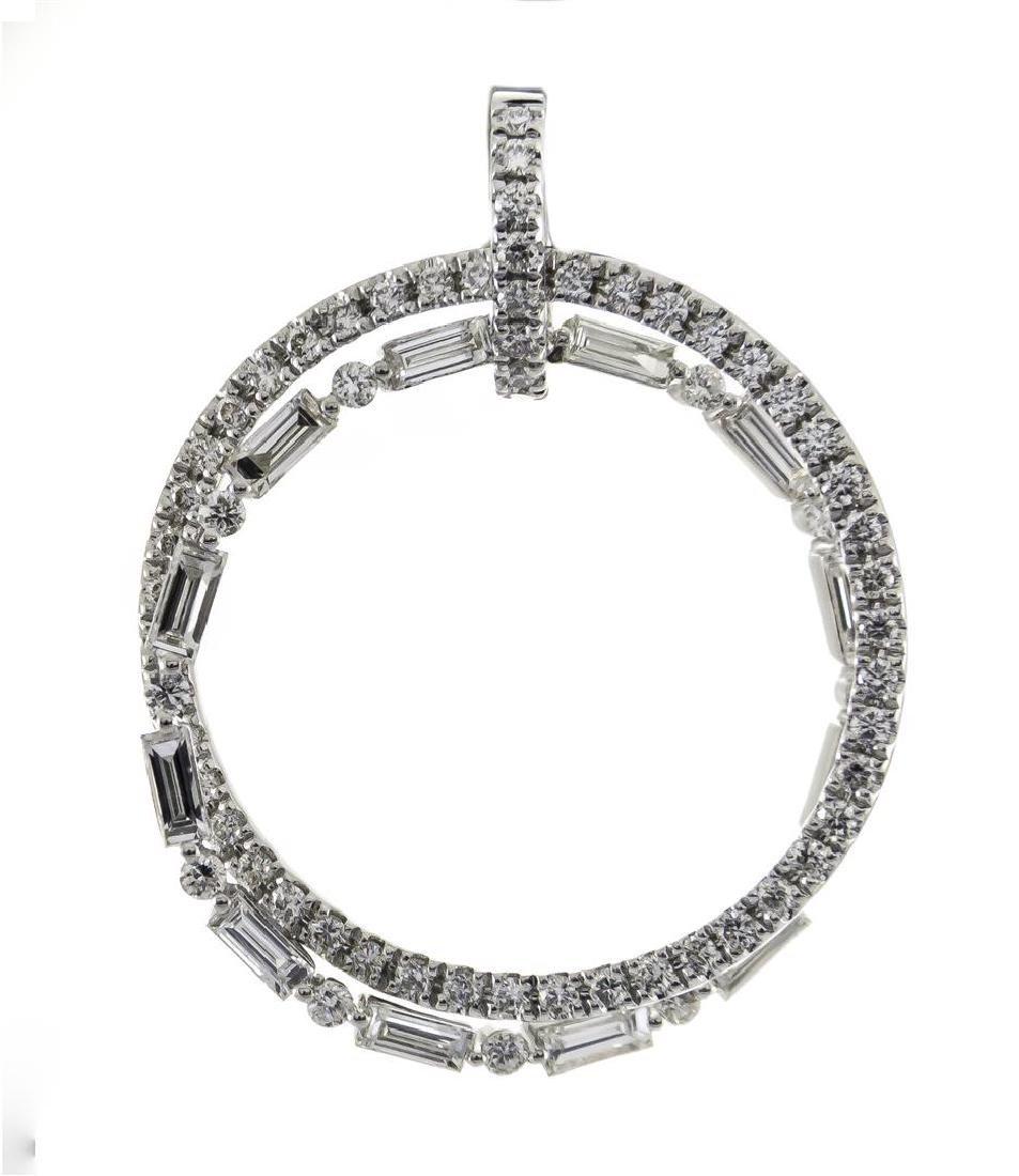 0.77 ctw Diamond Pendant - 18KT White Gold - 4