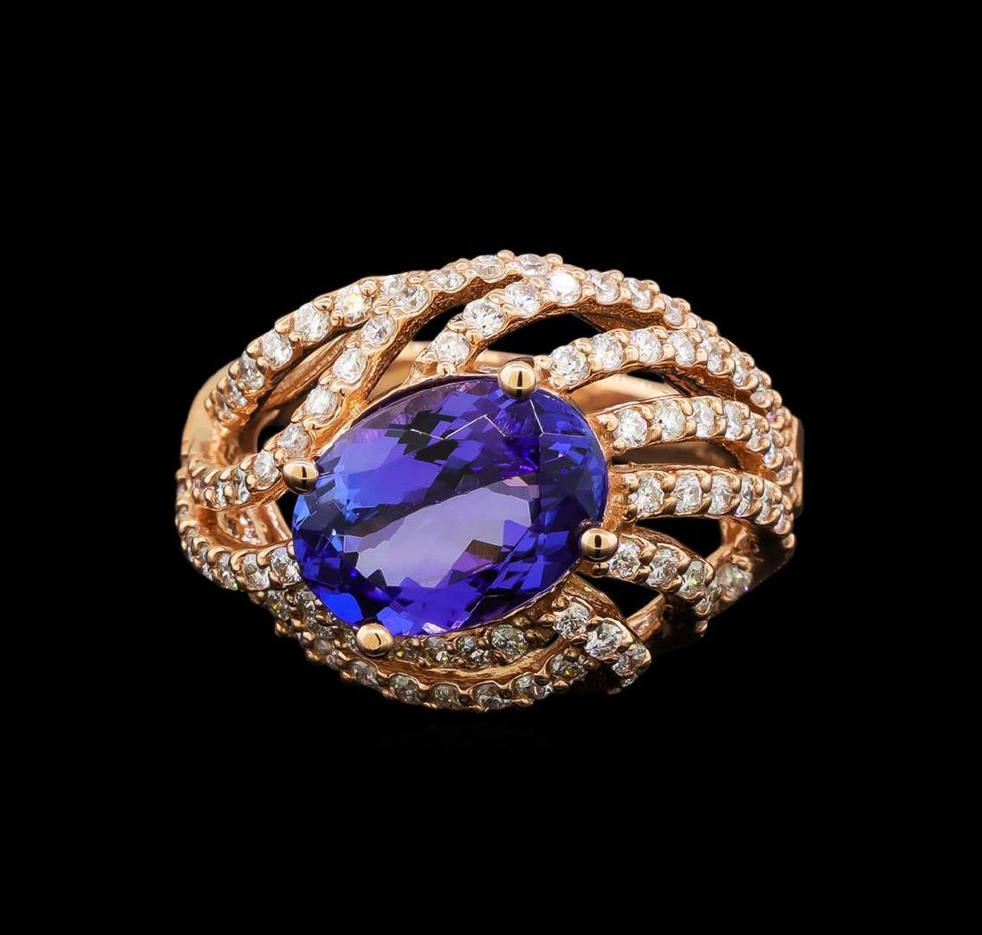 14KT Rose Gold 3.37 ctw Tanzanite and Diamond Ring - 2