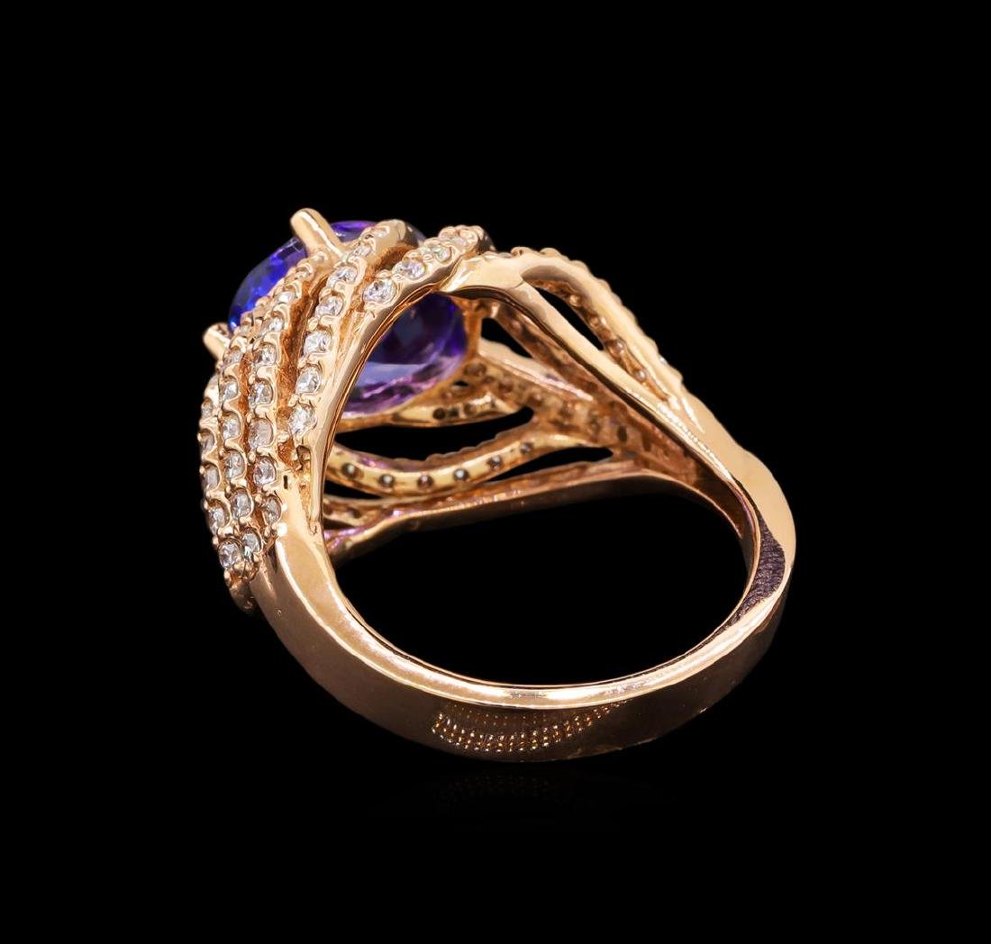 14KT Rose Gold 3.37 ctw Tanzanite and Diamond Ring - 3
