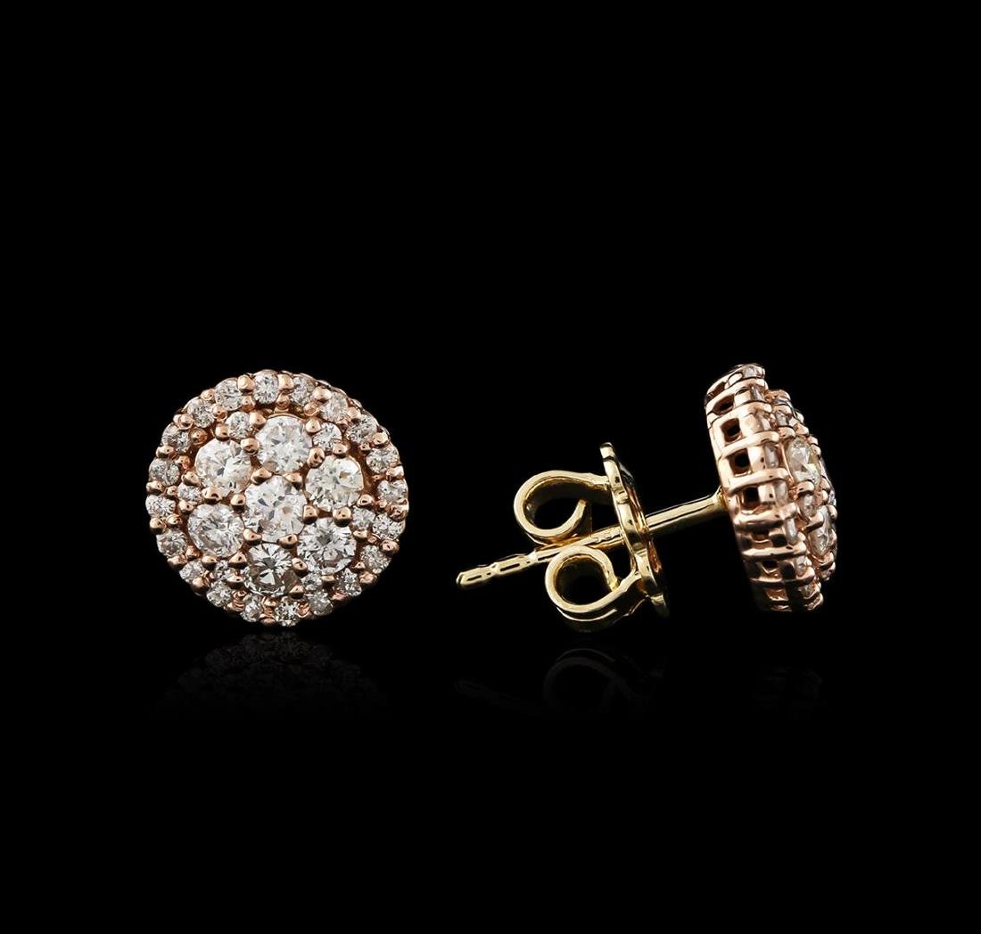 14KT Two-Tone Gold 1.31 ctw Diamond Earrings - 2