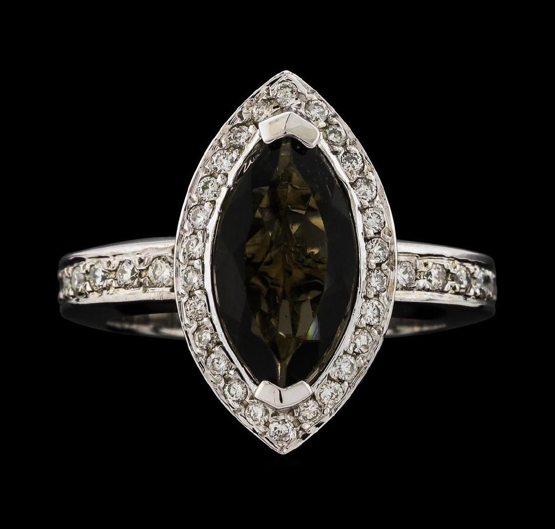 1.61 ctw Tourmaline and Diamond Ring - 14KT White Gold - 2