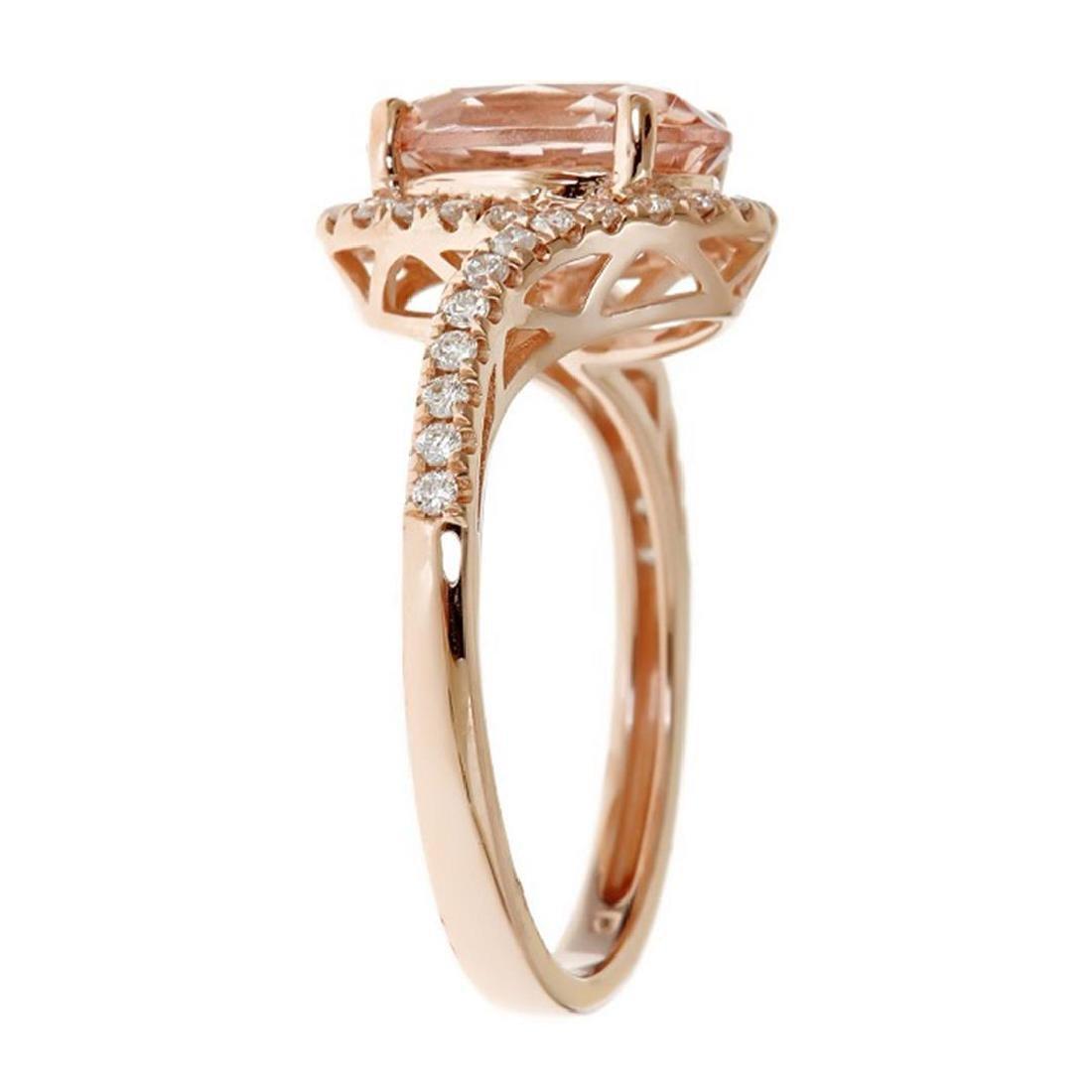 2.09 ctw Morganite and Diamond Ring - 14KT Rose Gold - 2